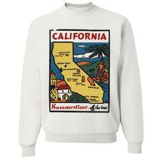 Vintage State Sticker California Crewneck Sweatshirt