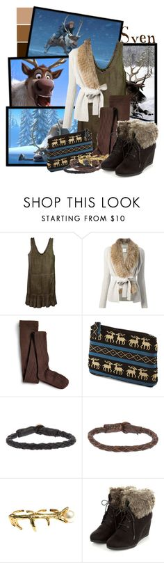"""""""Sven"""" by totallytrue ❤ liked on Polyvore featuring Disney, Cynthia Rowley, Yves Salomon, Sperry, Deux Lux, Ulla Soucasse, ELYONA, disney, disneybound and frozen"""