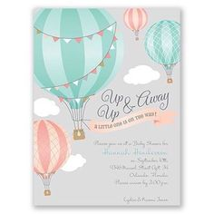 So charming! Hearts will lift in such delight at the sight of these hot air ball. So charming! Hearts will lift in such delight at the sight of these hot air balloon baby shower invitations. Baby Shower Gender Reveal, Baby Shower Themes, Baby Shower Decorations, Shower Ideas, Balloon Invitation, Baby Invitations, Baby Shower Invitation Cards, Invite, Simple Baby Shower