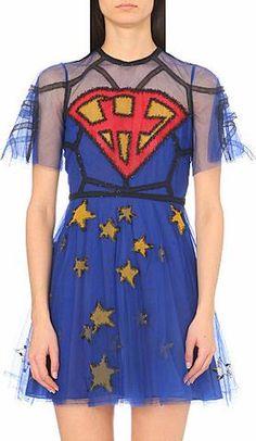 'Superhero' Embroidered Tulle Dress-Blue