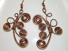 Coiled Wire Wrapped Copper Earrings Dangle Copper by TheLastLink, $25.00
