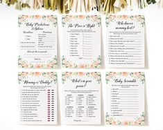 Editable Floral Baby Shower Games Floral Baby Shower Games | Etsy Baby Word Scramble Answers, Baby Name Game, Card Games, Game Cards, Who Knows Mommy Best, Celebrity Baby Names, Baby Prediction, Whats In Your Purse, Baby Words