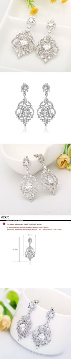 New Arrival Party Accessories Retro Vintage AAA Cubic Zirconia Big Drop Dangle Earrings Fashion Jewelry For Women Wedding