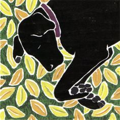 Willy Reddick, white line woodblock print: Black Dog Yellow Leaves. Meditation, Sketch Painting, Dog Paintings, Wood Engraving, Print Artist, Woodblock Print, Dog Art, Printmaking, Art Photography