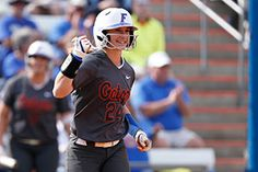 Kirsti Merritt scored three runs, hit a home run and recorded two RBI on Saturday. (Photo: Tim Casey)