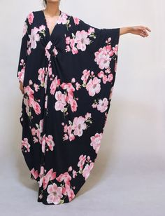 Navy Blue Plus Size Maxi Kaftan Dresses Autumn Winter Pink