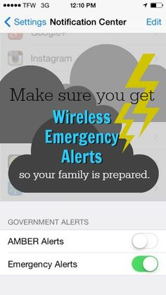 Make sure you get Wireless Emergency Alerts so your family is prepared for storms and other disasters.