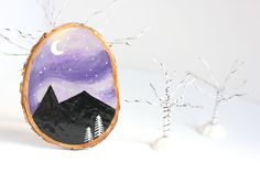 Small Wood Slice Painting Mountain Scene Mini by bytherockandweed