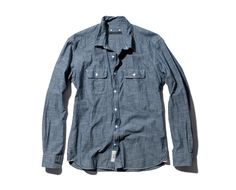 SOPHNET. COTTON CHAMBRAY WIRE L/S WORK SHIRT