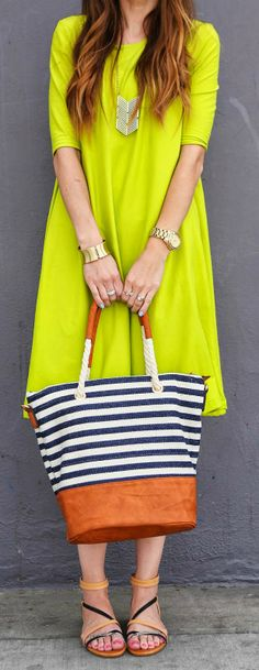 Striped Tote + Yellow Dress