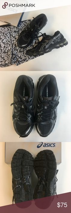 Black Asics Gel Kayano 21 Size 8 Wide Black Asics women's running shoes. Mesh fabric. Gel soles. New in box. Retails for $159.99. Size 8 D is a wide fit. Please carefully review each photo before purchase as they are the best descriptors of the item. My price is firm. No trades. First come, first served. Thank you! :) Asics Shoes Sneakers