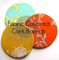 IKEA Hack: Fabric Covered Cork Board Tutorial  (3 board pack for $2.99 at IKEA!)