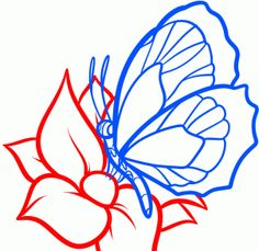 how to draw a butterfly on a flower, butterfly and flower step 6