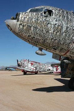 Boneyard Project: Warning Shot by Retna with Time Flies by How and Nosm. Street Graffiti, Street Art, Art Bin, Airplane Art, Throughout The World, Art Gallery, Urban, Artist, Arizona