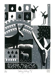 Donkey Collage No.1  two-colour linocut print