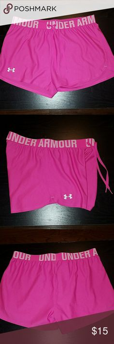 Barely worn Bubblegum UnderArmour shorts Selling these shorts that I only wore 2 ish times! Someone bought them for me a while ago, and these are just not my fav. They are a really cute bubblegum pink with white logos. There are absolutely no stains or snags and look brand new. I have a lot of listings for like-new workout clothes so check them out! These are a true size small. Under Armour Shorts