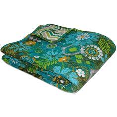 Tropical Garden Floral Print Cotton Throw