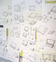 Love sketch walls like these! Conference Phone Concept by Kicker Studio (San Francisco CA)