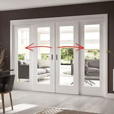 A free delivery is standard, these Easi-Slide white full pane shaker sliding doors incorporating a frame and track set with fixed side… Windows And Doors, The Doors, Sliding Windows, Sliding Door Systems, Sliding Door Design, Room Doors, Closet Doors, Room Divider Doors, Porch Doors