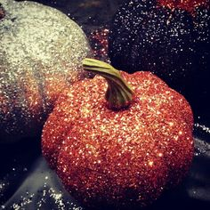 Pumpkin decorating /  Glittered Pumpkins