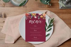 DIY Printable Navy and Gold Watercolour Floral Wedding Menu by Print Your Own Invitations, Unique Invitations, Wedding Invitation Design, Printable Invitations, Baby Shower Invitations, Birthday Invitations, Wedding Menu, Floral Wedding, Printable Designs