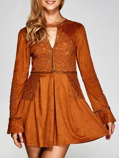 $22.18   Long Sleeve Lace Cut Out Flare Dress