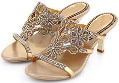 Reinhar Golden Heeled Sandal Toe Slid Evening Party Sanda...