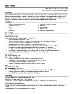 X Ray Sample Resume Resume Examples Cv Examples
