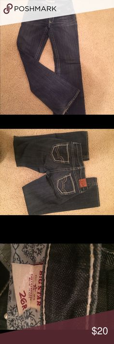 Big Star size 26R - hazel curvy fit jeans Big star jeans- 26R. There is some minor wear on the bottoms but otherwise in great shape! Big Star Jeans Boot Cut
