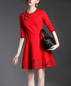 Red Cutout-Hem A-Line Dress
