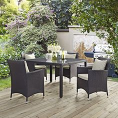 Convene 5 Piece Outdoor Patio Dining Set Espresso Biege ** Find out more about the great product at the image link.(This is an Amazon affiliate link and I receive a commission for the sales) #PatioFurnitureandAccessories