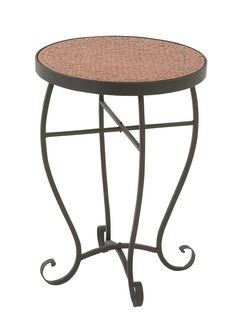 Appealing Metal Red Mosaic Side Table