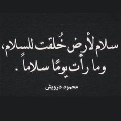 """""""Peace to a land that was created for peace, and never saw a peaceful day."""" -Mahamoud Darwish"""