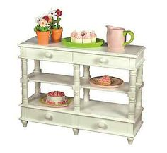 18-Doll-Cottage-White-Sideboard-Hutch-Kitchen-Furniture-Fits-American-Girl