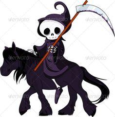 Cartoon grim reaper riding horse  #GraphicRiver         Cute cartoon grim reaper with scythe riding black horse     Created: 27September11 GraphicsFilesIncluded: VectorEPS #VectorEPS Layered: No MinimumAdobeCSVersion: CS Tags: anatomy #black #body #bone #cartoon #clip-art #cute #dark #dead #death #depression #evil #ghost #gothic #grave #grim #halloween #horror #horse #illustration #monster #reaper #robe #skeleton #skull #spooky #style #vector