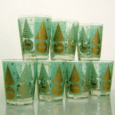 7 Mid Century Modern Gold Trim Ned Harris Christmas Reindeer Barware Bar Gles Ebay