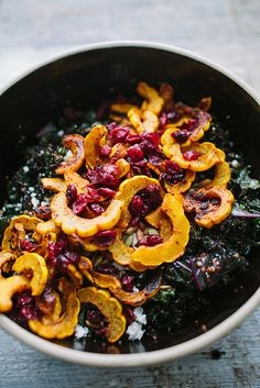 A big, beautiful Harvest Salad with Delicata Squash and Kale / Wholesome Foodie <3