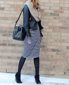 Striped Dress   Leather Jacket (See Jane Wear) via See Jane / @seeannajane
