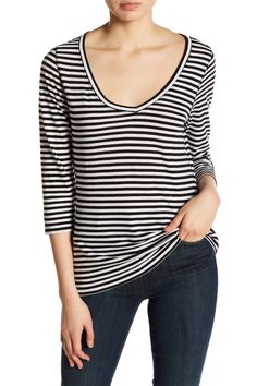 Striped 3/4 Sleeve Tee
