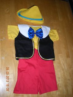 Pinocchio costume 4 pieces shirt, short, vest and hat (sizes 6 months to 5T)