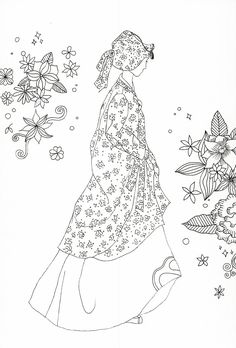 adult coloring page : Korean traditional clothing