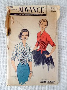 """A """"Sew Easy"""" Design. ONE MAJOR PATTERN PIECE plus neckband and tie-end make this versatile wrap blouse with push-up sleeves. The blouse back is longer than front and tucks into skirt, with ribbon or tape tie inside to insure a smooth fit. The surplice crosses and drapes softly around the figure. The ends wrap and ajust to fit the waistline, tying in the front.  Pattern is complete with all pieces and instructions. Envelope shows considerable wear; please see photos for details. Bust 28 - 30…"""