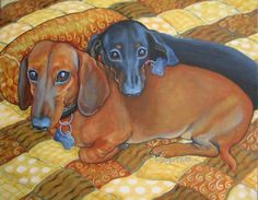 """""""Best Buds  Funny Red and Black Dachshund Dog"""" by Rebecca Korpita, Mississippi Gulf Coast // Two cute dachshund buddies, one red and one black, cuddle on a soft quilt in this sweet print from an original painting by Rebecca Stringer Korpita. // Imagekind.com -- Buy stunning fine art prints, framed prints and canvas prints directly from independent working artists and photographers."""