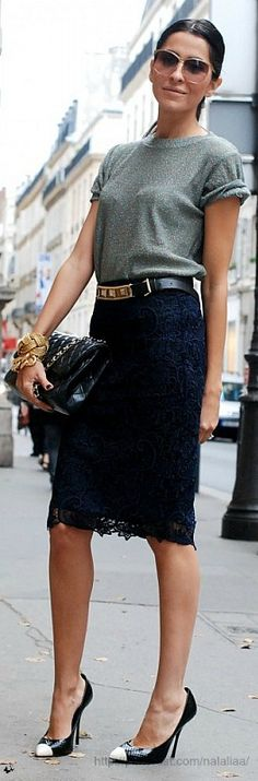 ...This black lace skirt is classy and sexy in one.... love the pairing of a simply blouse too