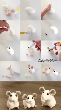 Fondant Cake Toppers 6 Tiny Mice Fimo M uschen Instructions Fondant Cake Toppers 6 . Polymer Clay Figures, Cute Polymer Clay, Polymer Clay Animals, Cute Clay, Fimo Clay, Polymer Clay Projects, Polymer Clay Creations, Fondant Figures, Fondant Tutorial