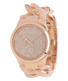 Loving this Rose Goldtone & Crystal Runway Watch on #zulily! #zulilyfinds