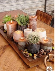 15 Irresistible Homemade Fall CandlesCreative Containers to Make Fall Candles. What are your favorite scents for Fall Candles? - Fall Candles - Ideas of Fall Candles FallCandlescabinetsuno Rainbow shoe cabinet body - wood-colored - Fall Home Decor, Autumn Home, Diy Home Decor, Room Decor, Autumn Decor Living Room, Tray Decor, Decoration Table, Centerpiece Ideas, Candle Centerpieces For Home