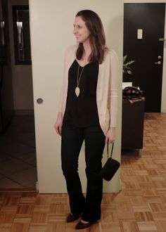See What Katie Wears: Dinner Outfit: Silk Cami, Dark Jeans, & Leopard Heels Smart Business Casual, Business Casual Outfits, Dinner Outfits, Leopard Heels, Shoe Boutique, Pink Cardigan, Dark Jeans, Cami, Going Out