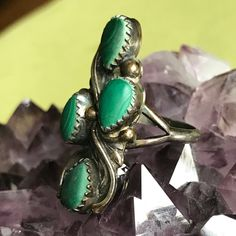 Excited to share the latest addition to my #etsy shop: Vintage Navajo Eleanor Largo Malachite and Sterling Silver Ring - Size 9  sugatdrawers.etsy.com