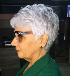 older women hairstyles short over 70 Feathered Silver Pixie Hairstyle Short Hair Older Women, Haircut For Older Women, Short Grey Hair, Short Hair Over 50, Long Hair, Gray Hair, Mom Hairstyles, Short Hairstyles For Women, Natural Hairstyles